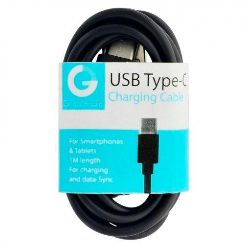 Grab 'n Go Datakabel USB-C 1 Meter Black