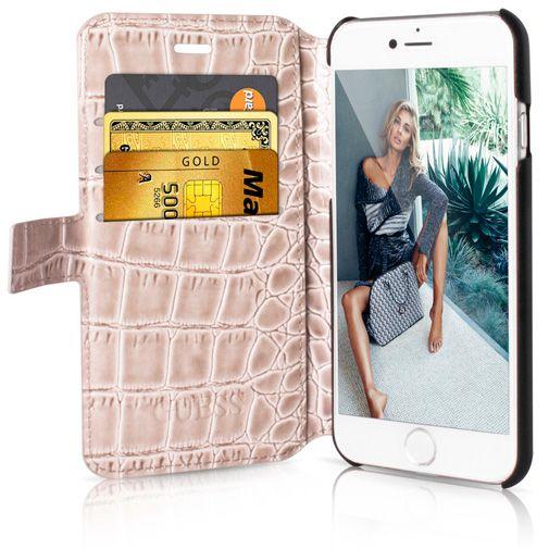 Productafbeelding van de Guess Croco Book Case Shiny Beige Apple iPhone 6/6S