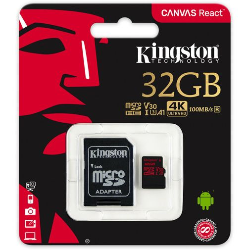 Productafbeelding van de Kingston Canvas React microSDHC 32GB + SD-adapter