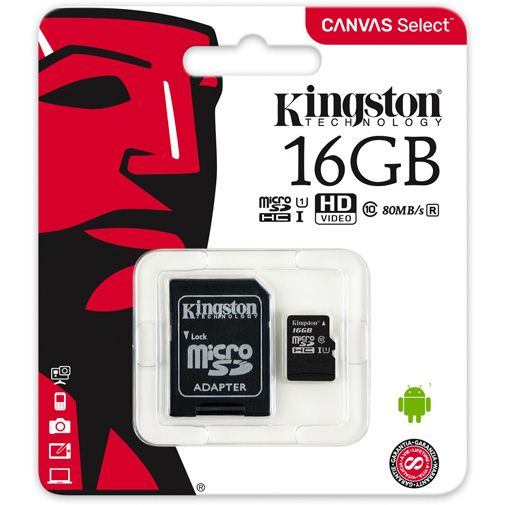 Kingston Canvas Select microSDHC 16GB + SD-adapter