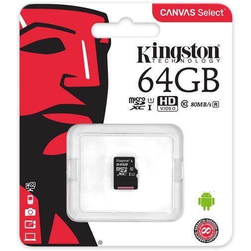 Productafbeelding van de Kingston Canvas Select microSDXC 64GB