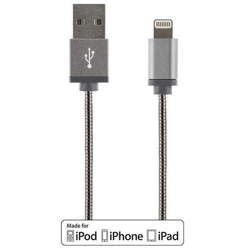 Productafbeelding van de Streetz USB naar Lightning Kabel Metal Braided 1 meter Grey