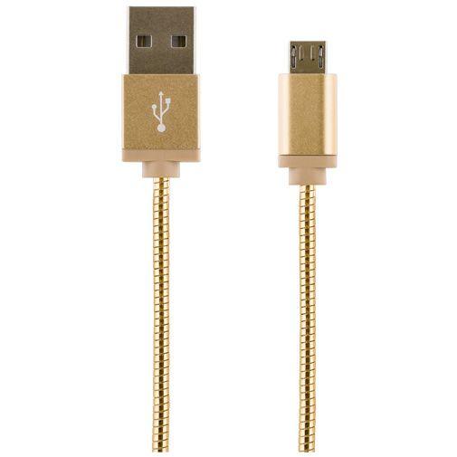 Streetz USB naar Micro-USB Kabel Metal Braided 1 meter Gold