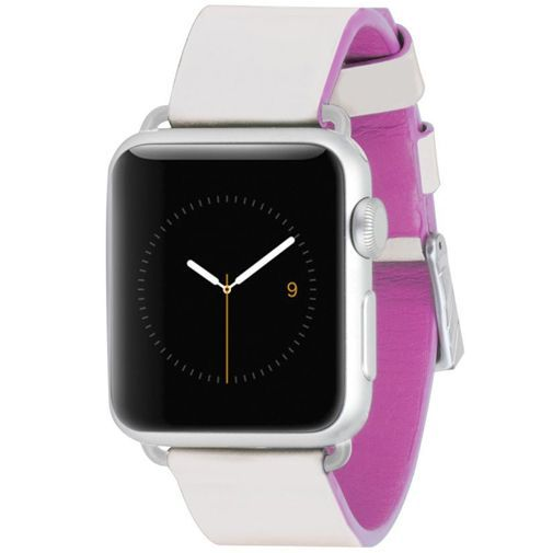 Productafbeelding van de Case-Mate Edged Leather Polsband Ivory Pink Apple Watch 38mm