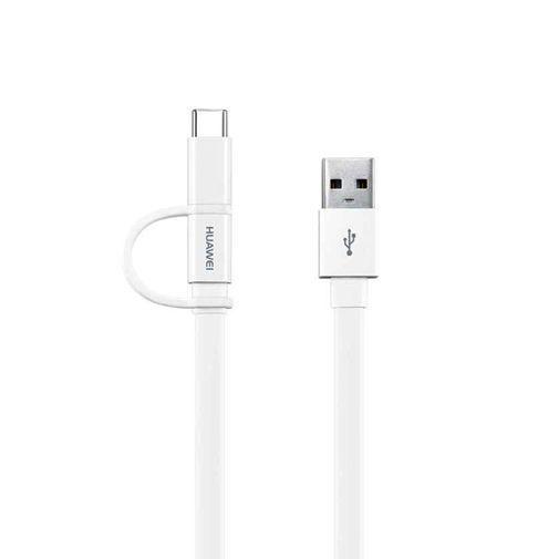 Productafbeelding van de Huawei 2-in-1 Datakabel USB-C & Micro USB 1,5 meter AP55S White