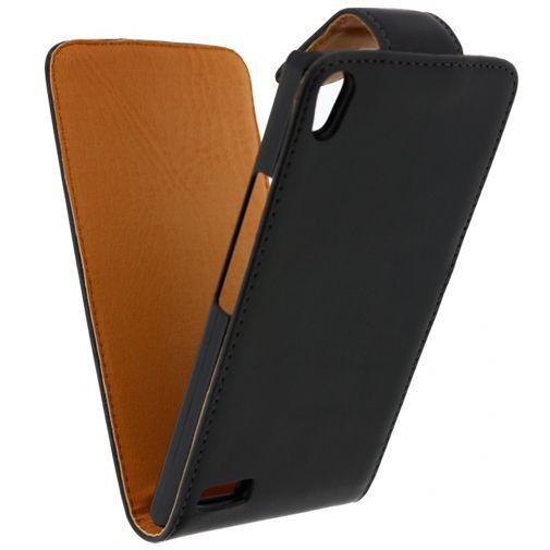 Produktimage des Xccess Leder Flip Case Schwarz Huawei Ascend P6