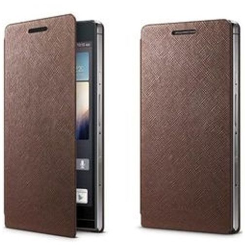 Productafbeelding van de Huawei Edge Leather Flip Case Ascend P6 Brown