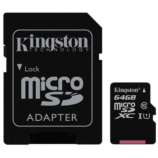 Productafbeelding van de Kingston MicroSDXC 64GB Class 10 + adapter