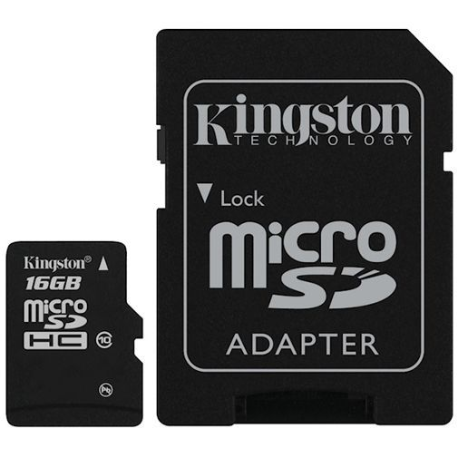 Productafbeelding van de Kingston microSDHC 16GB Class 10 + SD-Adapter