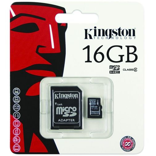 Productafbeelding van de Kingston microSDHC 16GB Class 4 + adapter