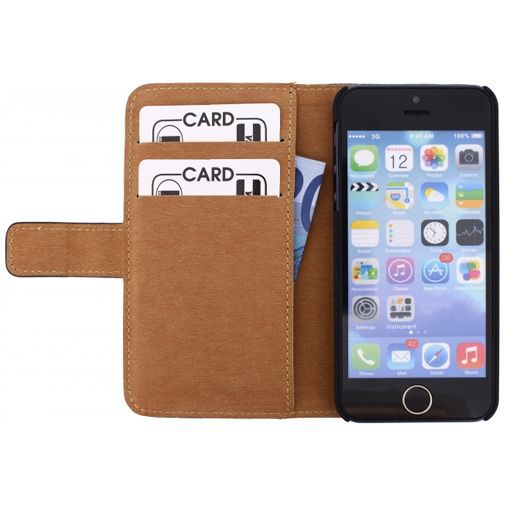 Produktimage des Mobilize Slim Wallet Book Case Apple iPhone 5/5S/SE Schwarz