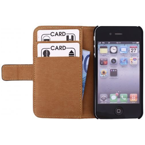 Productafbeelding van de Mobilize Slim Wallet Book Case Black Apple iPhone 4/4S