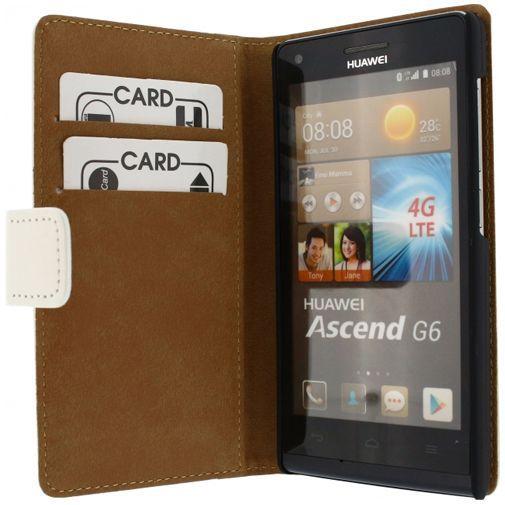 Productafbeelding van de Mobilize Slim Wallet Book Case White Huawei Ascend G6 4G