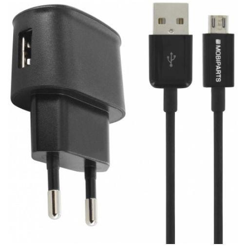 Productafbeelding van de Mobiparts Premium USB Thuislader 1A + Micro USB Kabel Black