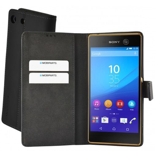 Productafbeelding van de Mobiparts Premium Wallet Case Black Sony Xperia M5