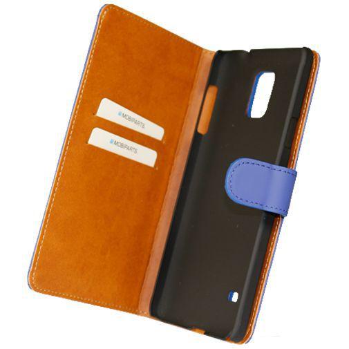 Productafbeelding van de Mobiparts Premium Wallet Case Blue Samsung Galaxy Note 4