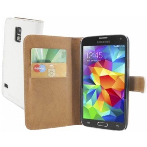 Productafbeelding van de Mobiparts Premium Wallet Case White Samsung Galaxy S5/S5 Plus/S5 Neo