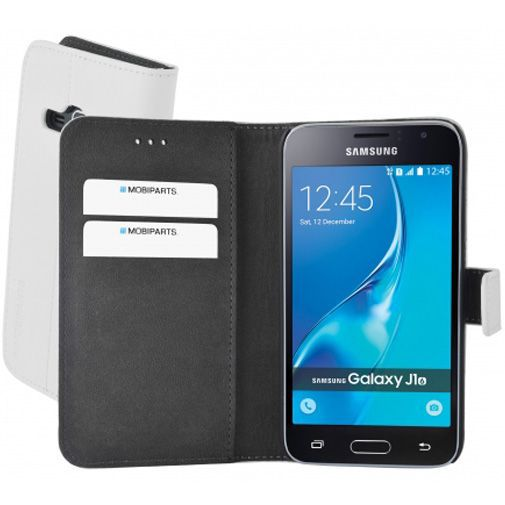 Productafbeelding van de Mobiparts Premium Wallet Case White Samsung Galaxy J1 (2016)