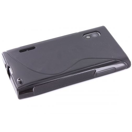 Productafbeelding van de Mobiparts TPU Case LG Optimus L5 S-Shape Black