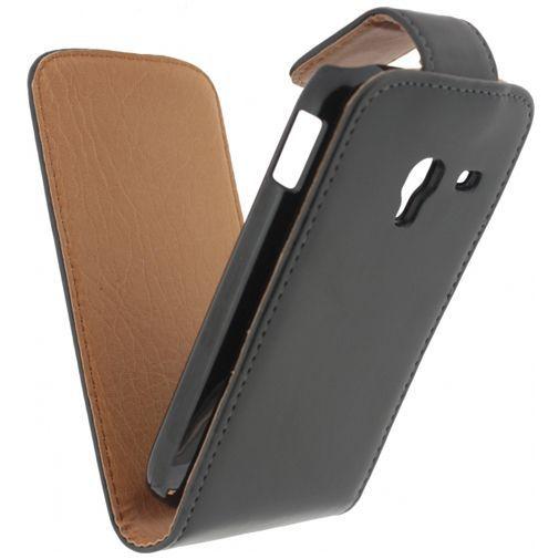 Productafbeelding van de Xccess Leather Flip Case Black Samsung Galaxy Ace 2 i8160