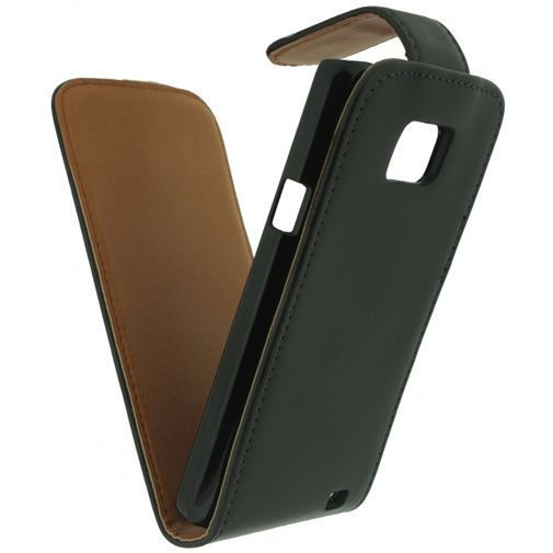 Productafbeelding van de Xccess Leather Flip Case Black Samsung Galaxy SII