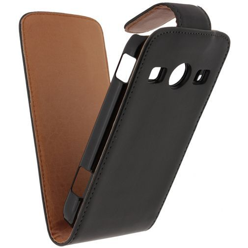 Productafbeelding van de Xccess Leather Flip Case Black Samsung Galaxy Xcover 2 S7710