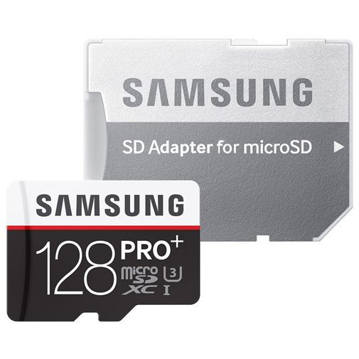 Productafbeelding van de Samsung Pro+ microSDXC 128GB Class 10 + SD-Adapter