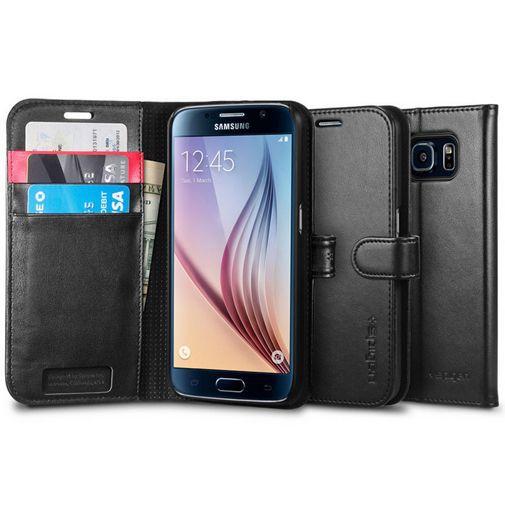 Productafbeelding van de Spigen Wallet Case Black Samsung Galaxy S6