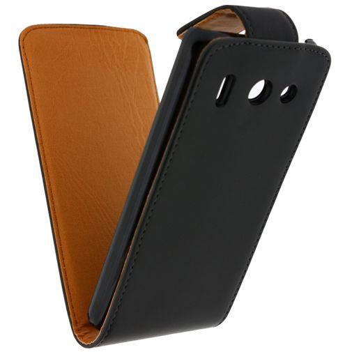 Productafbeelding van de Xccess Leather Flip Case Black Huawei Ascend G510