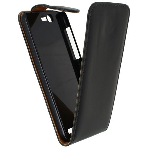 Productafbeelding van de Xccess Leather Flip Case Black Huawei Ascend G7