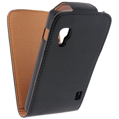 Productafbeelding van de Xccess Leather Flip Case Black LG Optimus L5 II E460