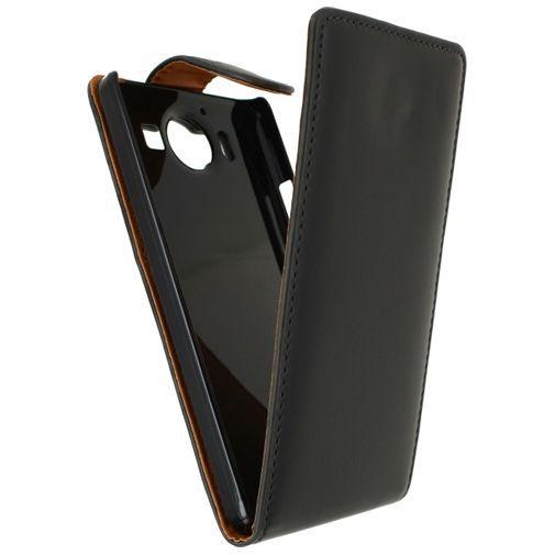 Productafbeelding van de Xccess Leather Flip Case Black Microsoft Lumia 950