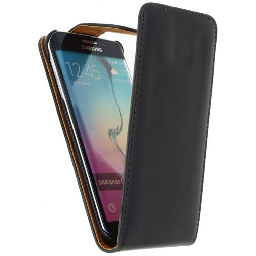 Productafbeelding van de Xccess Leather Flip Case Black Samsung Galaxy S6 Edge