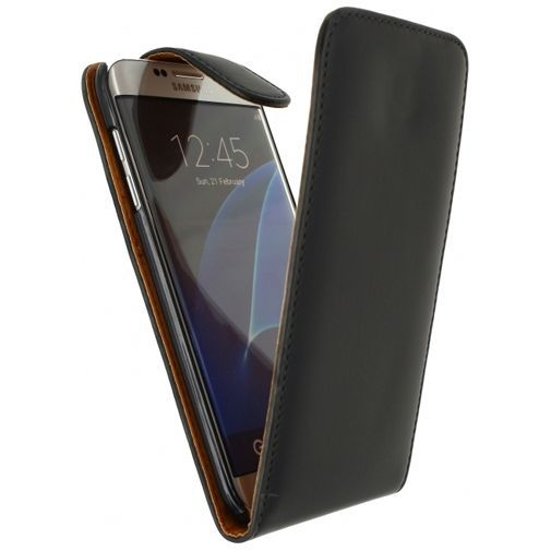 Productafbeelding van de Xccess Leather Flip Case Black Samsung Galaxy S7 Edge