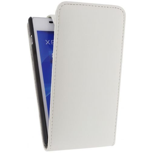 Productafbeelding van de Xccess Leather Flip Case White Sony Xperia M2