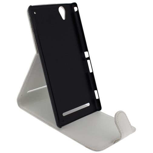 Productafbeelding van de Xccess Leather Flip Case White Sony Xperia T2 Ultra