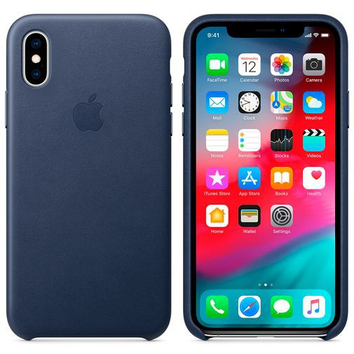 Productafbeelding van de Apple Leather Case Midnight Blue iPhone XS