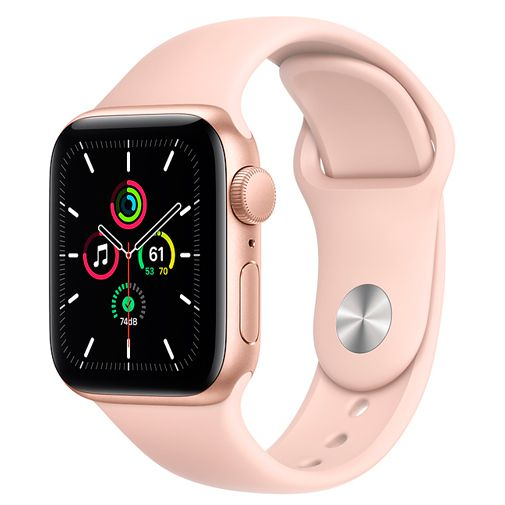 Productafbeelding van de Apple Watch SE 44mm Gold (Pink Silicone Strap)