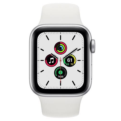 Productafbeelding van de Apple Watch SE 44mm Silver (White Silicone Strap)