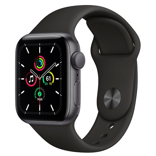 Productafbeelding van de Apple Watch SE 44mm Black (Black Silicone Strap)