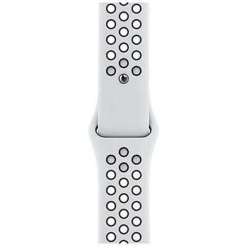 Productafbeelding van de Apple Watch SE Sport Nike 44mm Zilver Aluminium Witte Siliconen Band