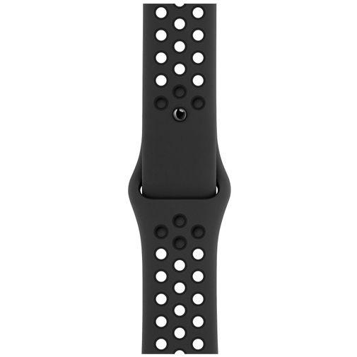 Productafbeelding van de Apple Watch SE Sport Nike 44mm Zwart Aluminium Zwarte Siliconen Band