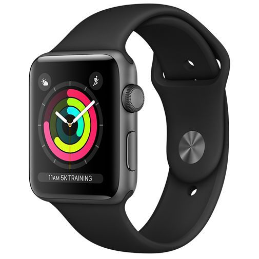 Produktimage des Apple Watch Series 3 Sport 38mm Grau Aluminium (Sportarmband Schwarz)