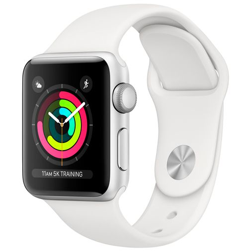 Produktimage des Apple Watch Series 3 Sport 38mm Silber Aluminium (Sportarmband Schwarz)