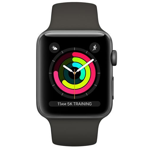 Productafbeelding van de Apple Watch Series 3 Sport 42mm Grey Aluminium (Black Strap)
