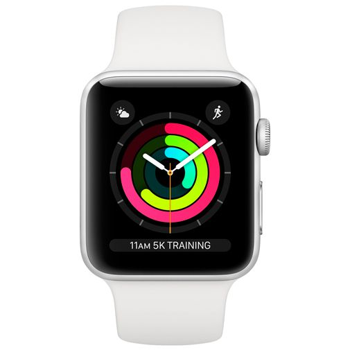 Produktimage des Apple Watch Series 3 Sport 42mm Silber Aluminium (Sportarmband Weiß)