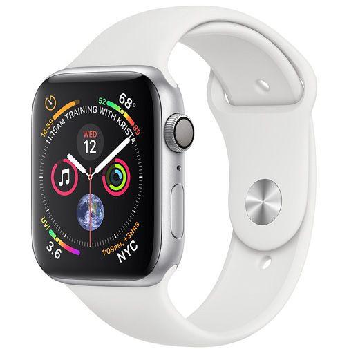 Produktimage des Apple Watch Series 4 Sport 40mm Silber Aluminium (Silikon Sportarmband Weiß)