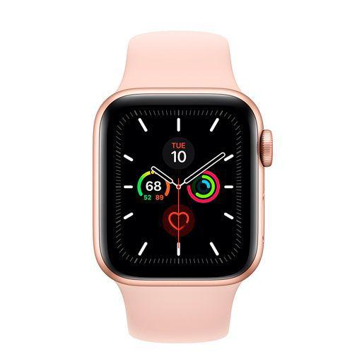 Productafbeelding van de Apple Watch Series 5 Sport 40mm Gold Aluminium (Pink Silicone Strap)