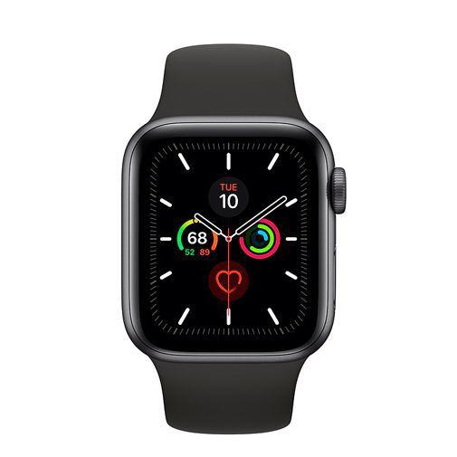Productafbeelding van de Apple Watch Series 5 Sport 40mm Grey Aluminium (Black Silicone Strap)