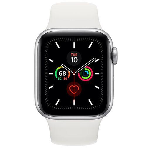 Produktimage des Apple Watch Series 5 Sport 40mm Silber Aluminium (Silikon Sportarmband Weiß)